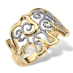 Lux Women's Two-Tone 18k Gold-Plated Elephant Filigree Ring - Size: 5