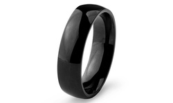 Women's Black Plated Stainless Steel Domed Ring - Size: 6