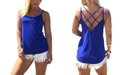 Women's Criss-Cross Back Tank Top - Blue - Small