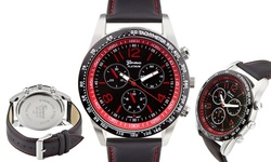 Geneva Men's Platinum Amarok Watch - Black Band/ Red Dial (62627912)