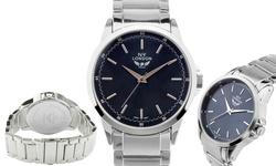 NY London Uptown Men's Bracelet Watch - Silver Band-Navy Dial