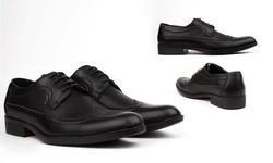 Royal Men's Long Wing-Tip Dress Shoes - Black - Size: 12