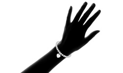"8"" Italian Solid Sterling Silver Bead Bracelet with Heart Charm"
