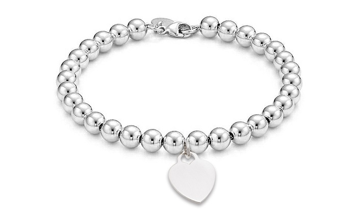8 Italian Solid Sterling Silver Bead Bracelet With Heart
