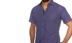Suslo Couture Men's Button Down Short-Sleeve Shirt - Dotted Blue - Sz: XXL
