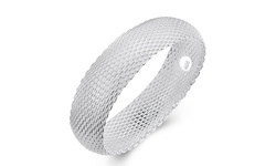 Jewelry Elements Women's Sterling Silver Mesh Bangle - Silver