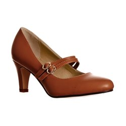 Women's Mila Chunky Mid Heel Mary Jane Pumps - Brown PU - Size: 10
