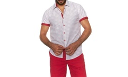Suslo Couture Men's Button Down Short-Sleeve Shirt - Ramo Red - Size: 3XL