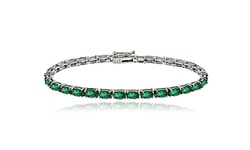 Women's Gemstone 8.75 Carat Emerald May Birthstone Oval Tennis Bracelet