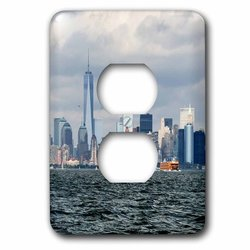3dRose Nyc & Freedom Tower 2 Plug Outlet Switch Cover -Multi