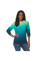 Chaps Women's Ombre Striped Sweater - Turquoise - Size: XL