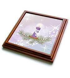 "3dRose trv_119130_1 Pretty Christmas Candle Holiday Xmas Vector Design Trivet with Ceramic Tile, 8 by 8"", Brown"