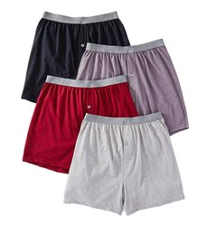 4 Pack Fruit the Loom Men's Premium Cotton Knit Boxers - Multi - Size: L