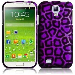 HR Wireless Rubberized Design Protective Cover for Samsung Galaxy S4 - Retail Packaging - Purple Leopard