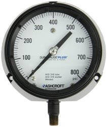"""Ashcroft Duragauge Type 1279 Black Phenolic Case Pressure Gauge with PLUS Performance Option, 316 Stainless Steel Bourdon Tube and Tip, 316 Stainless Steel Socket, Solid Front Case, 4.5"""" Dial Size, 1/4"""" NPT Lower Connection, 0/800 psi Pressure Range"""