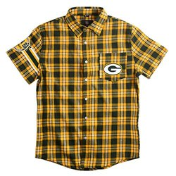 Green Bay Packers Flannel Short Sleeve Button-Up Shirt - Yellow - Size: S