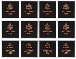 "3dRose Be Calm & Autumn on Orange on Black Greeting Cards, 6"" x 6"", Set of 12 (gc_200681_2)"