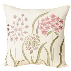 India House Brass, Inc. Flower Stem Ecru 20-Inch Square Embroidered Pillow