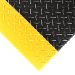 "NoTrax 419 Diamond Sof-Tred Safety/Anti-Fatigue Mat with Dyna-Shield PVC Sponge, for Dry Areas, 2' Width x 6' Length x 1/2"" Thickness, Black/Yellow"