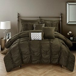 Chic Home 10 Pcs Tori Pinch Ruffled & Pleated Comforter Set- Brown - Queen