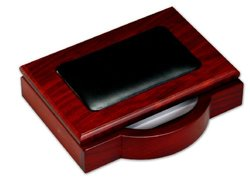 "DACASSO  Rosewood & Leather 4"" x 6"" Memo Holder"