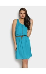 Women's Short Sleeve Dress with Zippers - Amazon Green - Size: 2