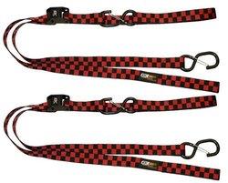 EK Ekcessories Dual Safety Clip Tie Down with Soft Tie - Red/Black