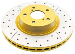 DBA Street Gold Cross Drilled & Slotted Front Vented Disc Brake Rotor