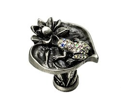 Carpe Diem Hardware 2571-11-78 In The Garden Satin Lily Pad & Frog Large Knob with Swarovski Crystals