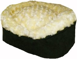Pampered Pets Oval Pet Bed with Buttercup Fur - Navy Blue Suede / X-Small