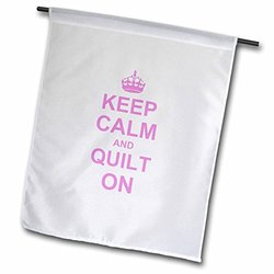 """3dRose 18 x 27"""" Keep Calm And Quilt On Garden Flag - Pink"""