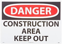 """NMC D404RD OSHA Sign, Legend """"DANGER - CONSTRUCTION AREA KEEP OUT"""", 28"""" Length x 20"""" Height, Rigid Plastic, Red/Black on White"""