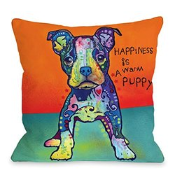 "One Bella Casa 16""x16"" Doggy Decor On My Own Throw Pillow - Multi"