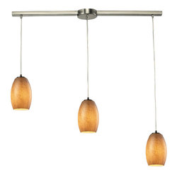 Elk Lighting Andover Satin Nickel Textured Beige Glass 3-Light Chandelier
