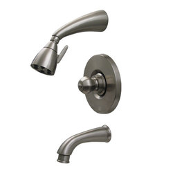 Whitehaus 614.828SH-PTR Blairhaus Washington 2 5/8-Inch Pressure Balance Valve with Showerhead and Crown-Shaped Turn Handle, Pewter