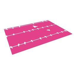 "Kess InHouse 4' x 5' Bree Madden ""Pink Birds"" Outdoor Floor Mat Rug - Pink"