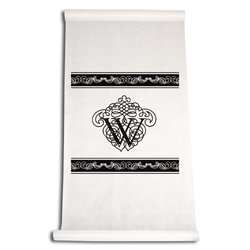 Ivy Lane Design 90-Feet by 36-Inch Aisle Runner, Fancy Font Letter W, White with Black
