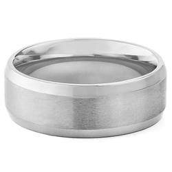 West Coast Men's Titanium Beveled Edge Satin Finish Ring - Size: 8
