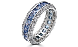 Sapphire Cubic Zirconia Eternity Band - 18K White Gold Plated - Size 7