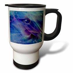 3dRose Keeping Watch Abstract Bird Art Blue Travel Mug, 14-Ounce