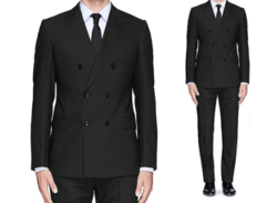 Braveman Men's Double-Breasted 2-Piece Slim-Fit Suit - Charcoal - Size:38L