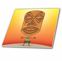 3dRose ct_19239_3 Voodoo Tiki Head Voodoo Villager with Tribal Mask Standing in Tropical Environment Ceramic Tile, 8-Inch