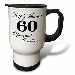 3dRose tm_193400_1 Happily Married 60 Years and Counting Black Stainless Steel Travel Mug, 14 oz, White