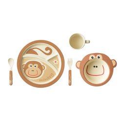 EcoBamboo Ware Kids Dinnerware Set - Monkey (5-Piece)