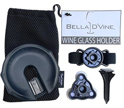 Outdoor Wine Glass Holder by Bella D'Vine - 3 Attachments Included with the Lawn Stake For Picnics, Suction Base for Boaters and Adjustable Strap for chairs - Perfect Wine Gift - Navy Blue