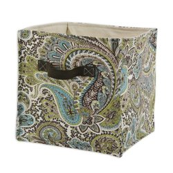 Brite Ideas Living & Company Paisley Chocolate Soft Sided Storage Container with Brown Canvas Handle, 11 by 10.75-Inch