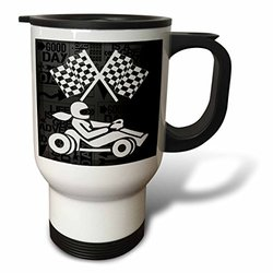 3dRose 14oz Go-cart Racer Checkered Flags Travel Mug - Black/White