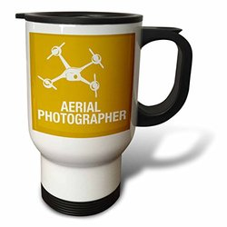 3dRose tm_179926_1 Yellow and Orange Drone, Aerial Photographer Stainless Steel Travel Mug, 14 oz, White