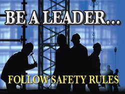 "Accuform Signs PST113 Safety Awareness Poster, ""BE A LEADER...FOLLOW SAFETY RULES"", 18"" Length x 24"" Width, Laminated Flexible Plastic"
