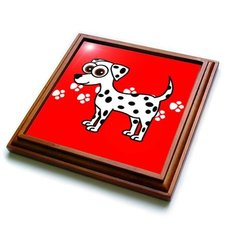 3dRose Dalmatian and Paw prints , Trivet with Ceramic Tile, 8 by 8-inch